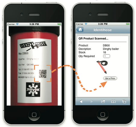 QR scanning a product label Tidyco products